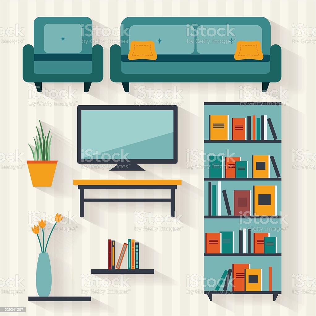 Living room flat illustration vector art illustration