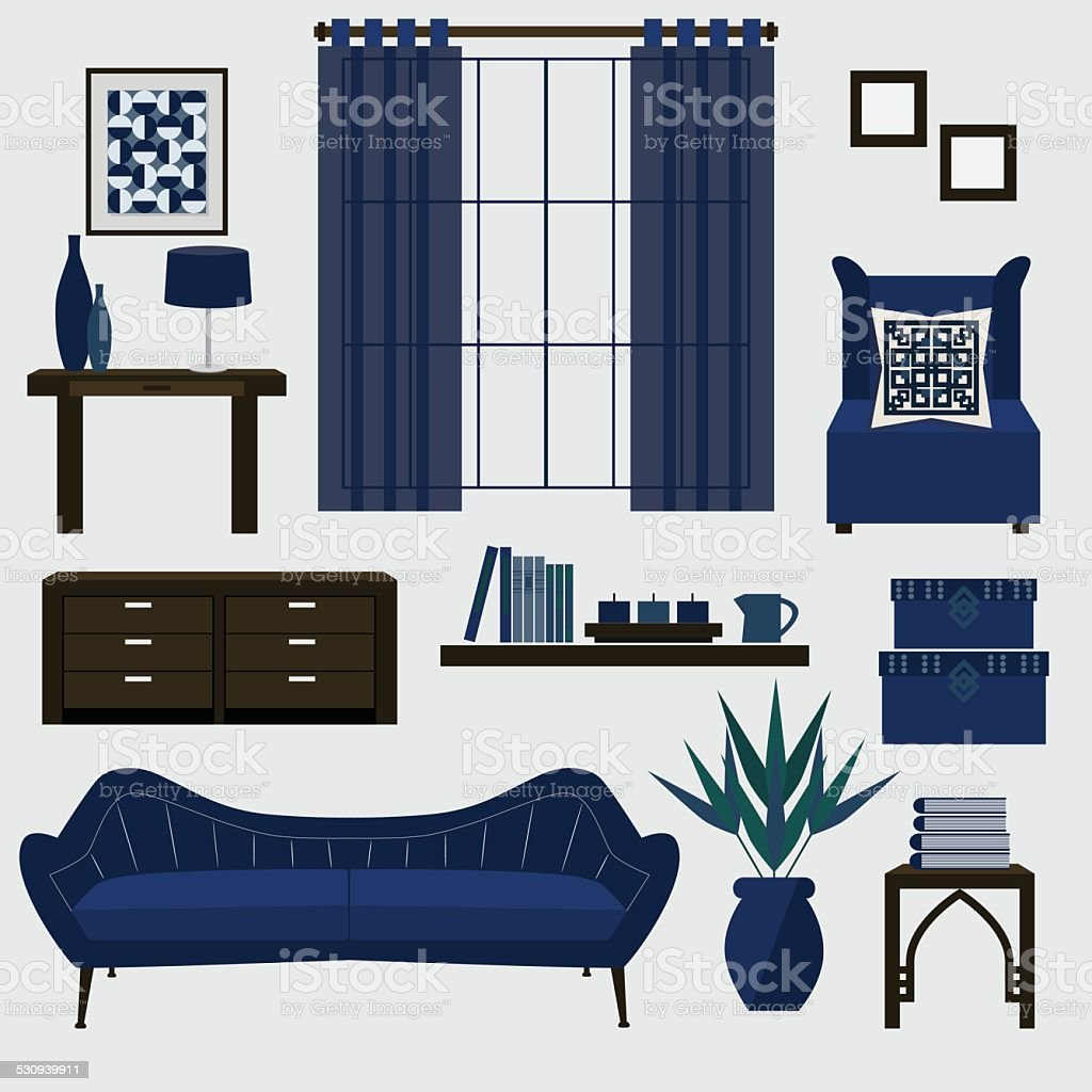 Living room furniture and accessories in navy blue vector art illustration