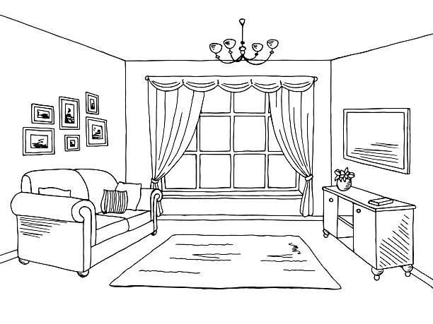 Interior Design Vector Art Illustration Living Room Graphic Black White Sketch