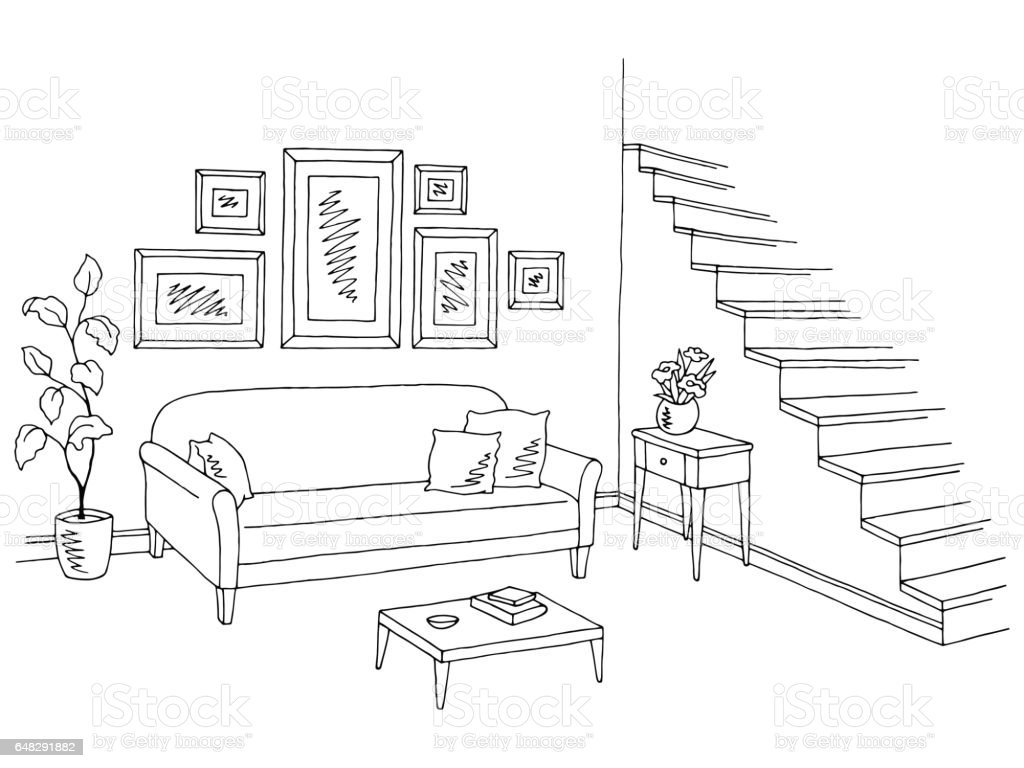 Living room graphic black white interior sketch for Interior house designs black and white
