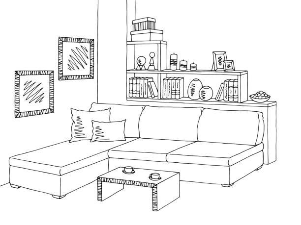 White Livingroom Clip Art Vector Images Illustrations