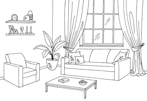 Living Room Graphic Black White Interior Sketch Illustration Vector Art