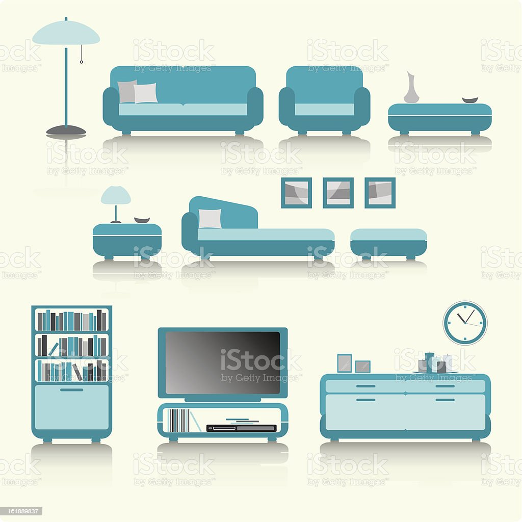 living room in color royalty-free stock vector art
