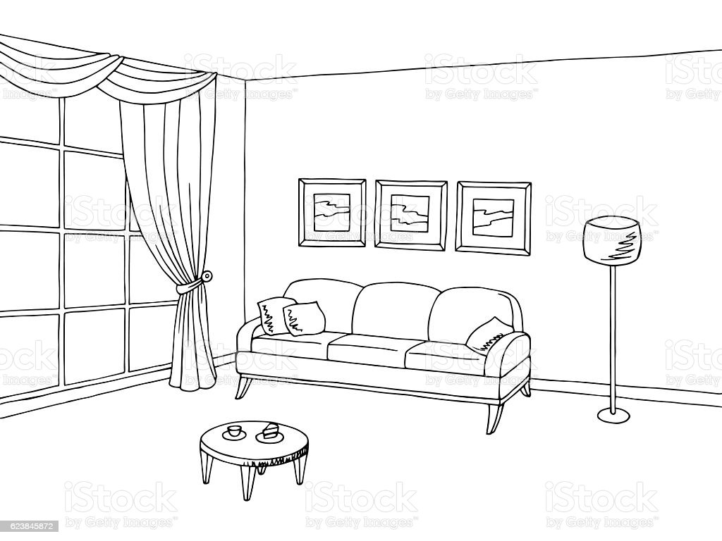 living room interior black white sketch illustration