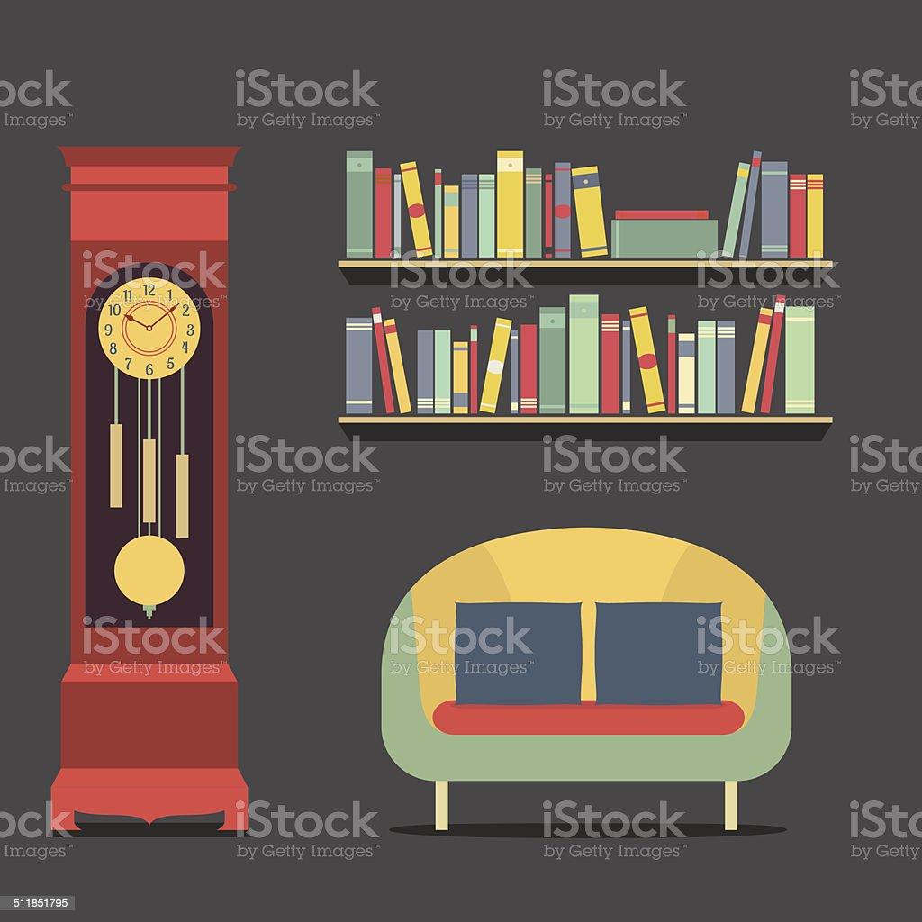 Living Room Interior Design Vector Illustration vector art illustration