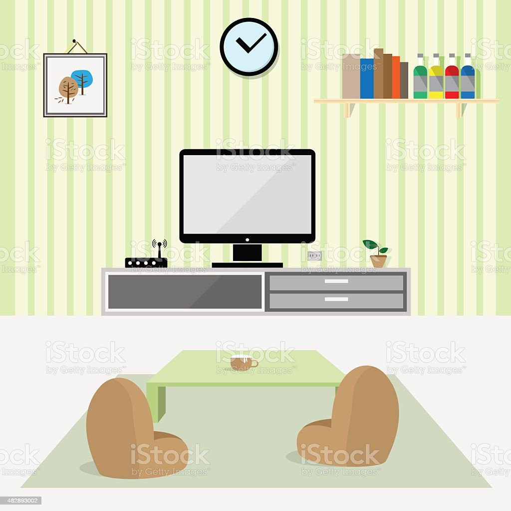 living room interior flat design Vector vector art illustration