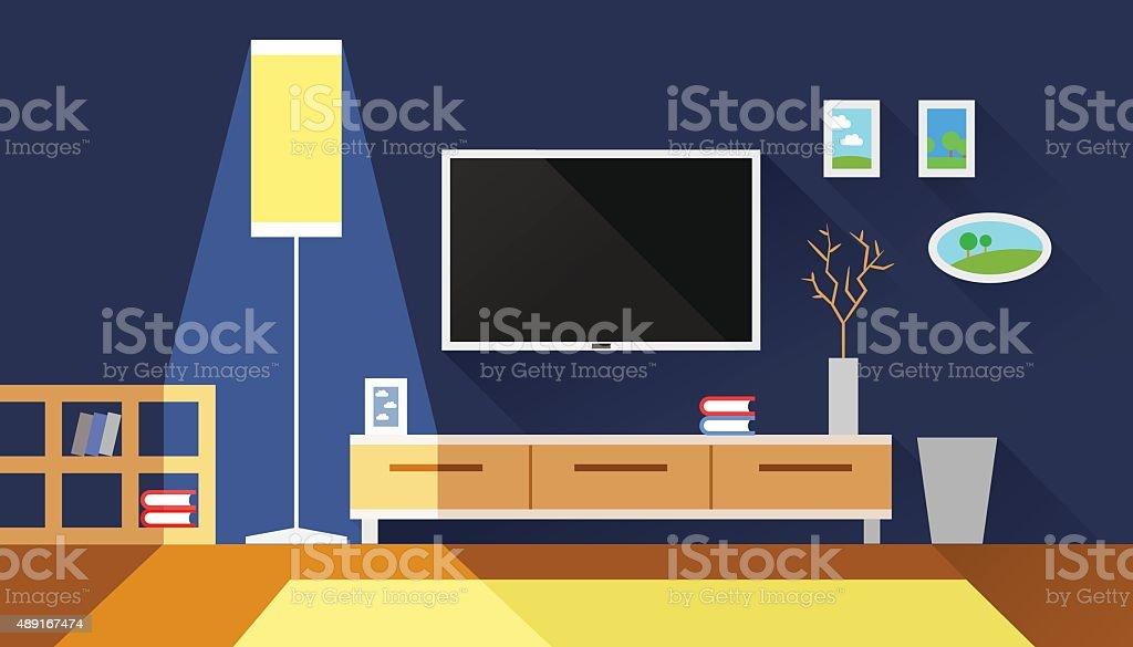 living room interior flat vector illustration vector art illustration