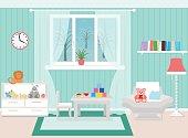 Living room interior including armchair, coffee table, bookshelf, toys.