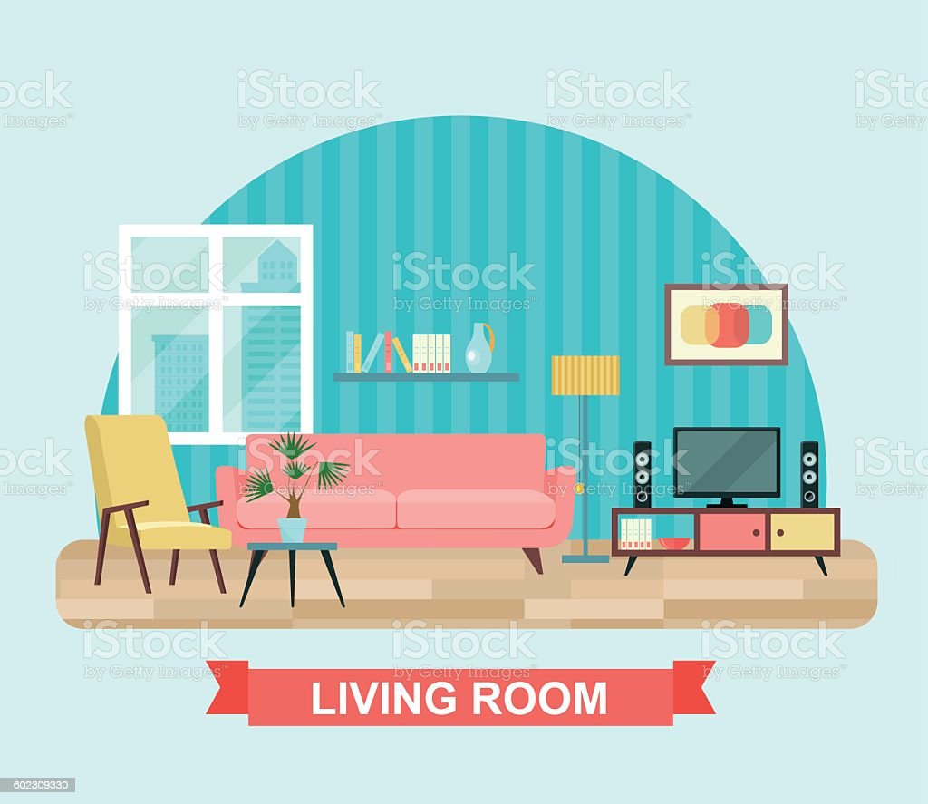 Living room interior with furniture set. Flat vector illustration vector art illustration