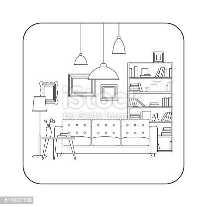 Living Room Line Interior Stock Vector Art 514927106