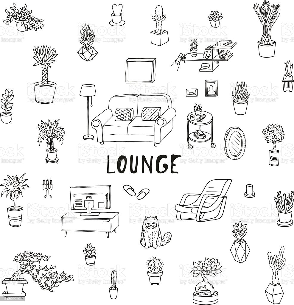 Living room. Lounge, relaxing place. Succulents and other houseplants. vector art illustration