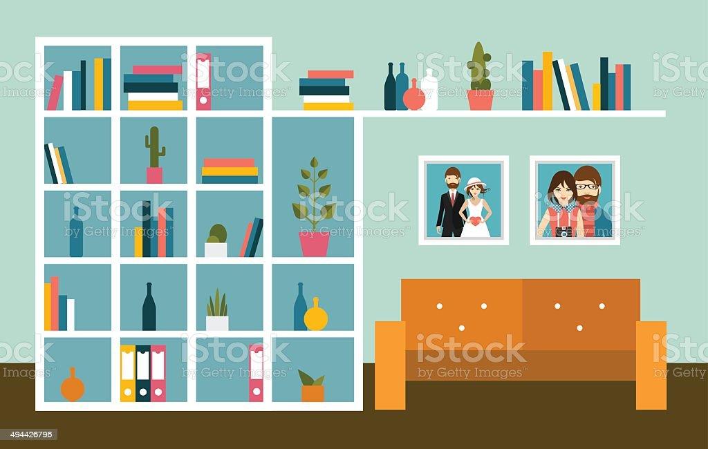 Wohnzimmer Der Wand Mit Orange Sofa Und Buchen Sie Den Regalen Lizenzfreies Vektor Illustration