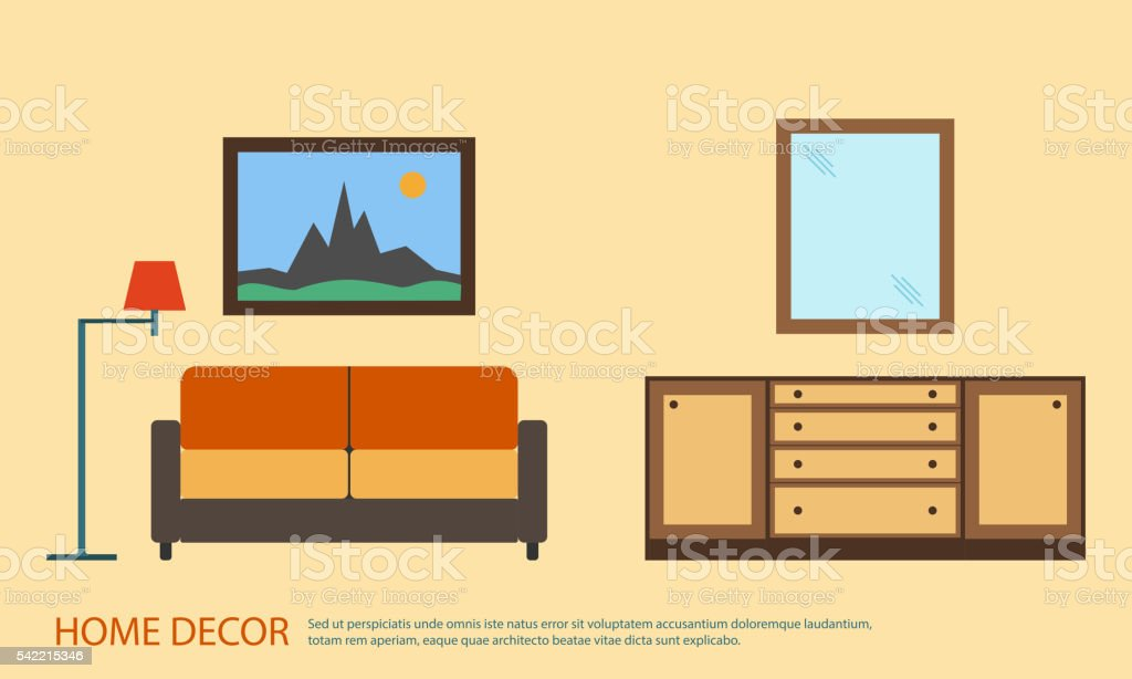Living room with furniture minimalism. Flat style vector illustration vector art illustration