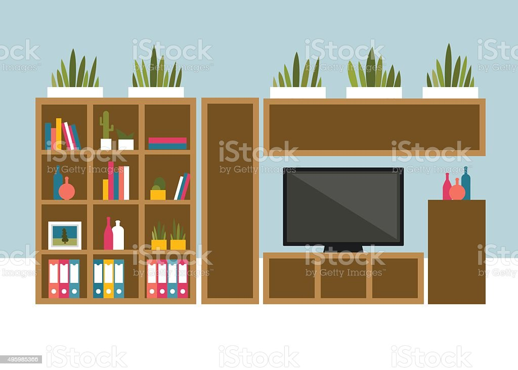 Living room with TV and book shelves. vector art illustration
