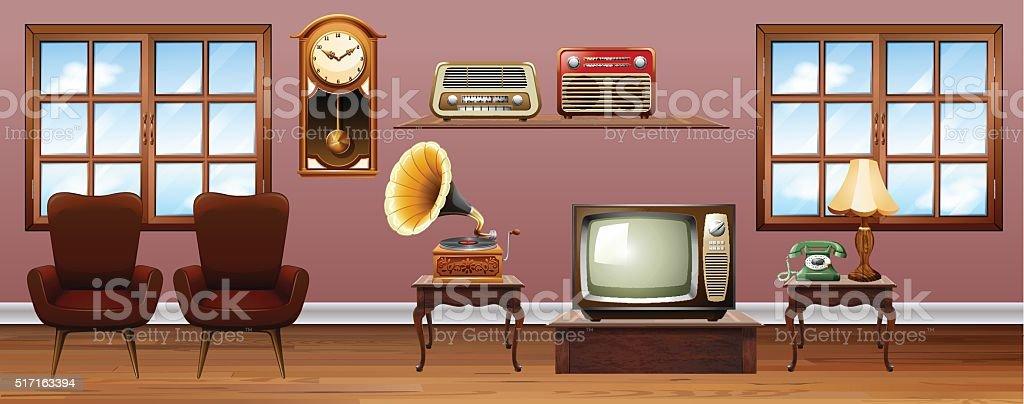 Living room with vintage furnitures vector art illustration