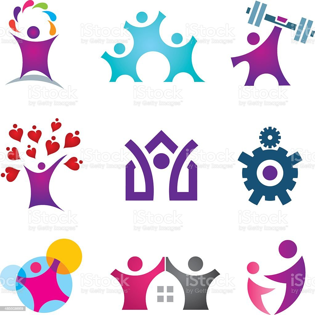 Living the great life happy social people icon set vector art illustration