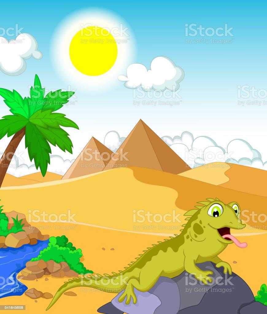 lizard cartoon with desert and pyramid background vector art illustration