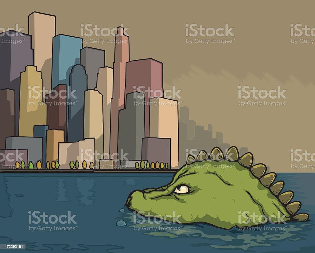 Lizard city vector art illustration