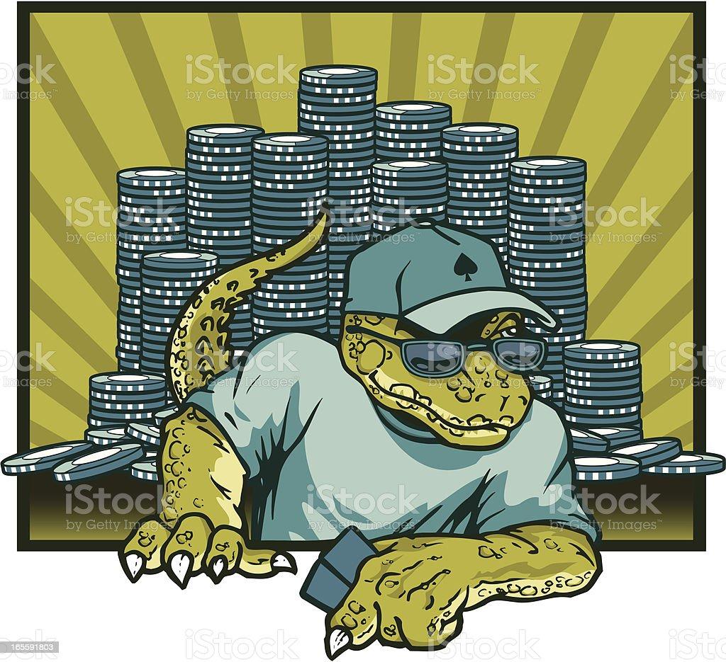 Lizard Playing Poker vector art illustration