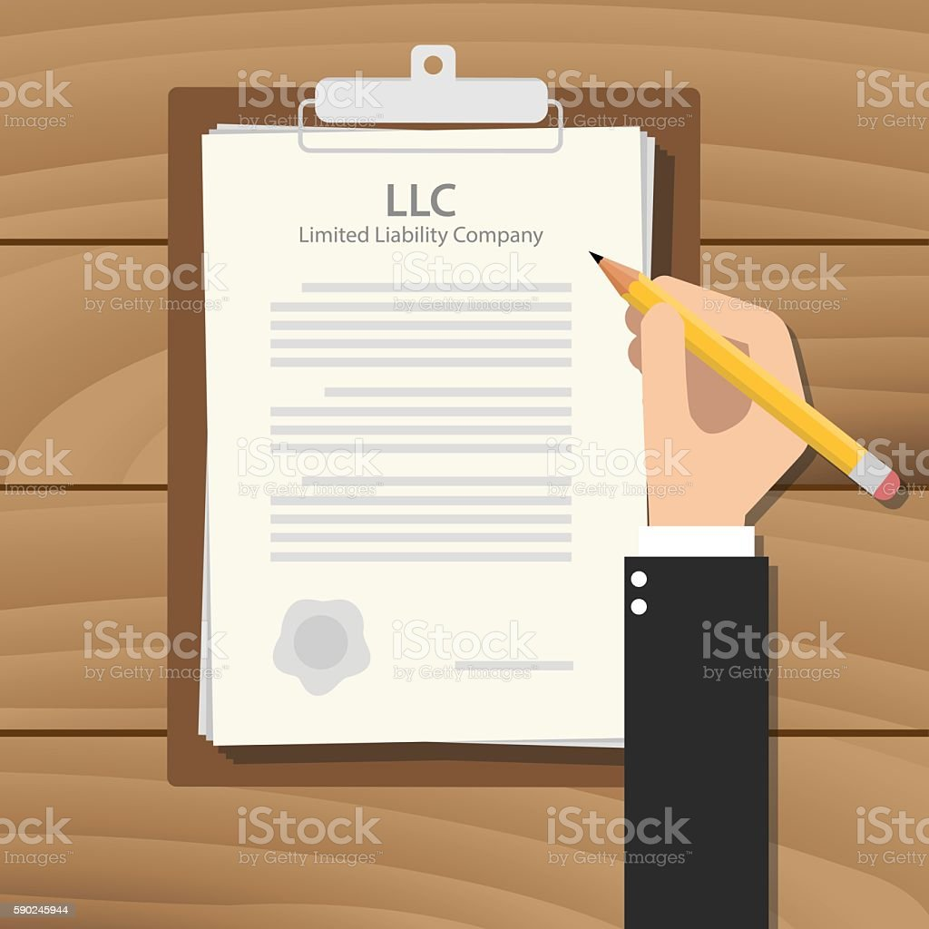 llc limited liability company illustration with hand signing a paper vector art illustration