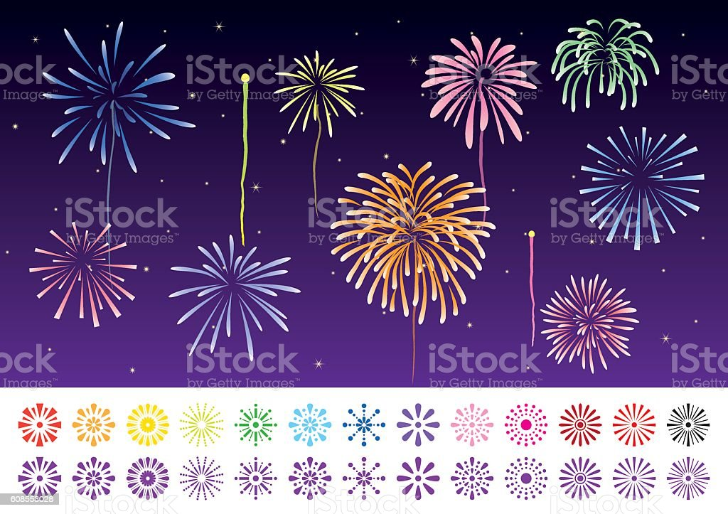 llustration and an icon set of fireworks vector art illustration