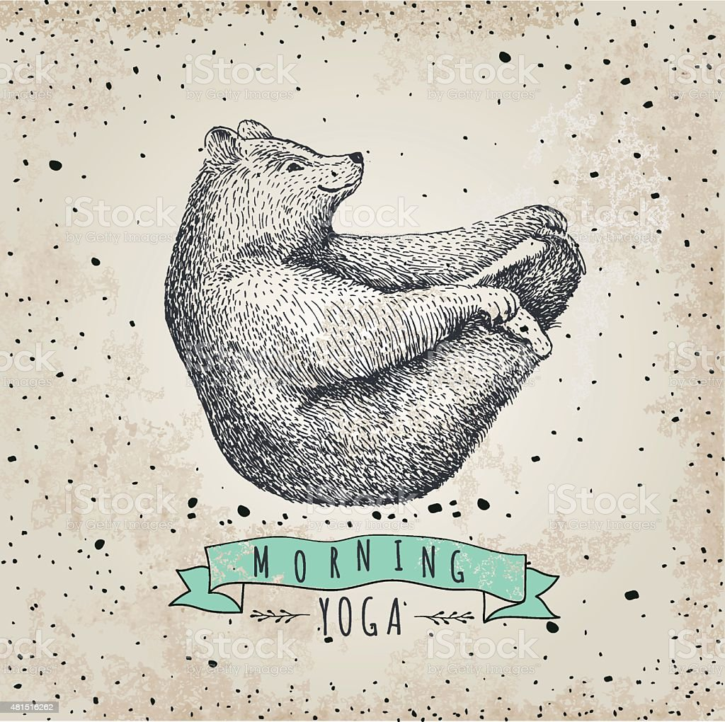 llustration of bear isolated onvintage background. mormimg yoga! Eps 10 vector art illustration