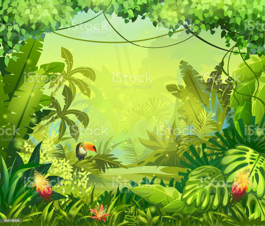 llustration with flowers and jungle toucan vector art illustration