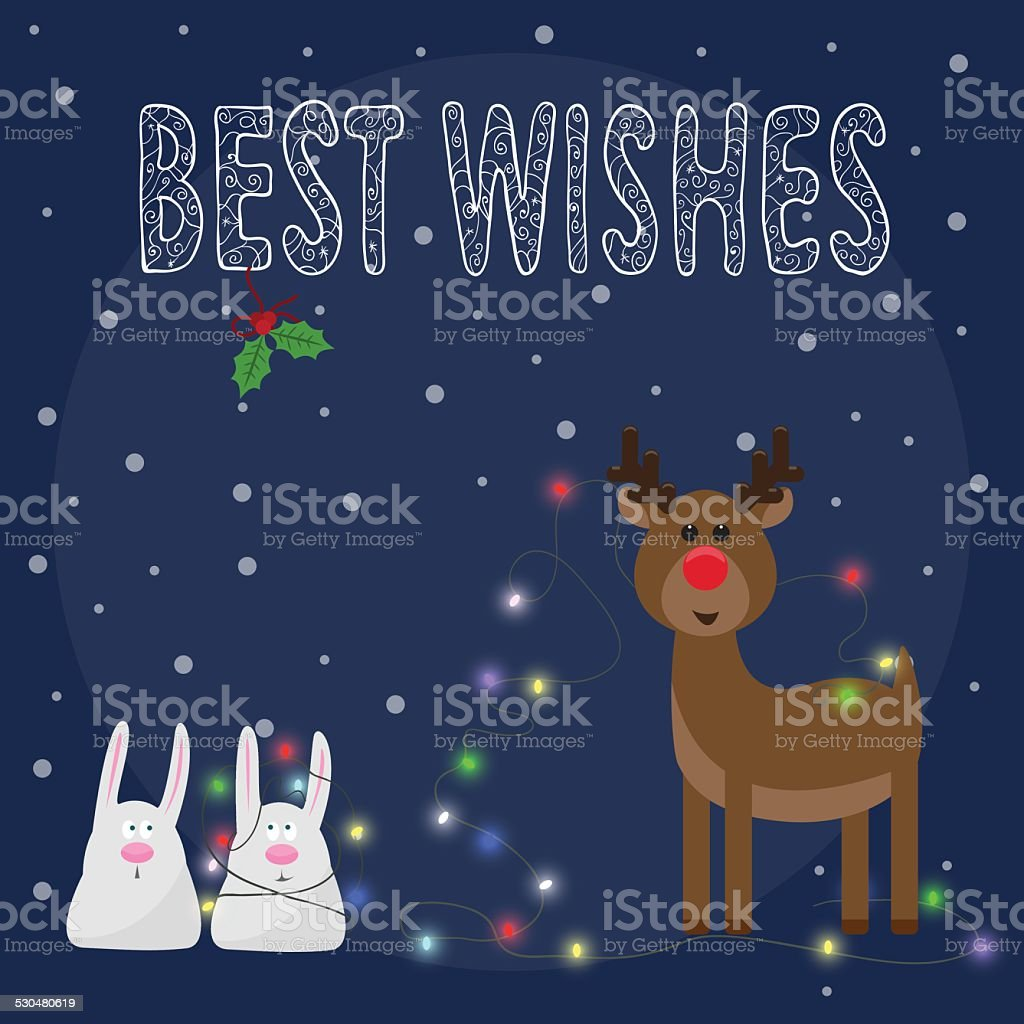 llustration with funny rabbits and deer, hand-drawing best wishes and lights vector art illustration