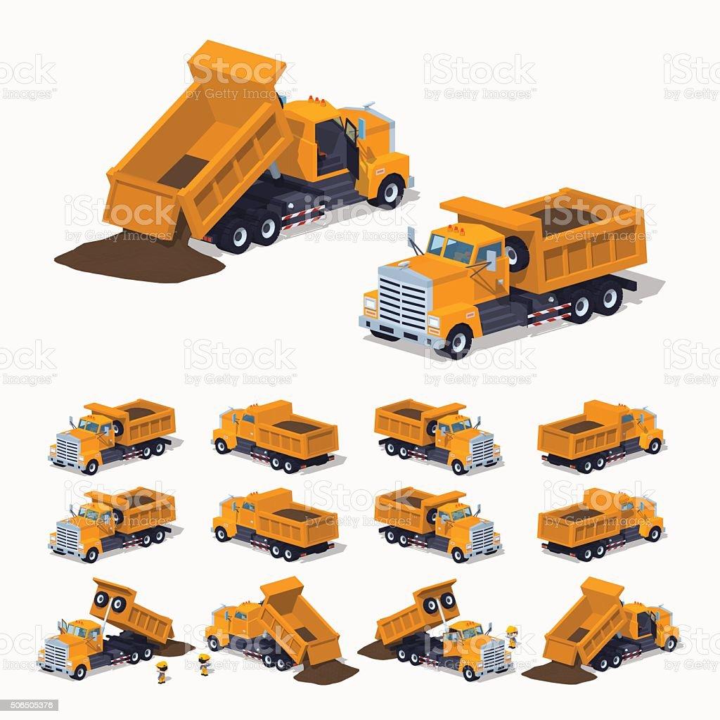 Loaded orange dumper vector art illustration