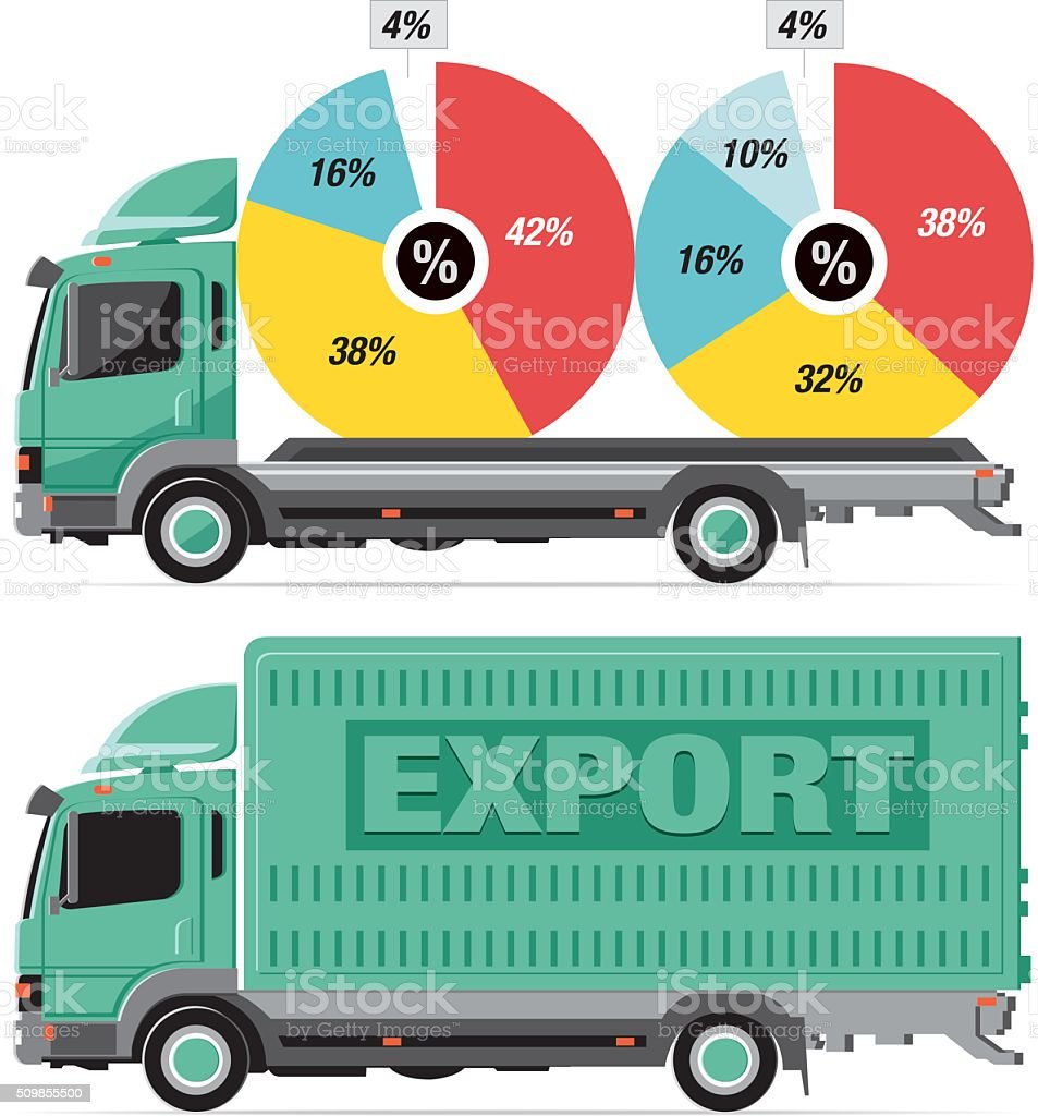 loaded pie charts vector art illustration