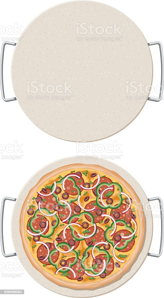Loaded Pizza on a ceramic pizza stone, overhead view vector art illustration