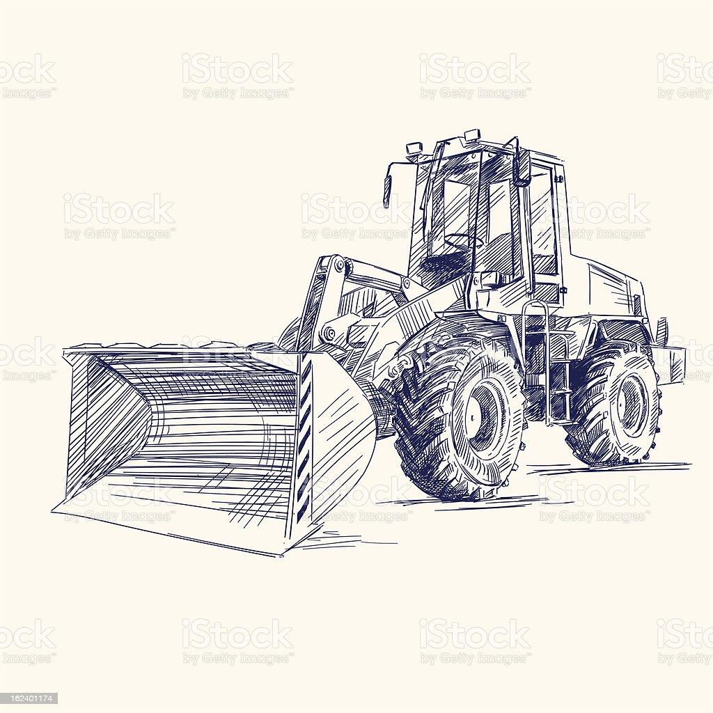 loader bulldozer excavator machine royalty-free stock vector art
