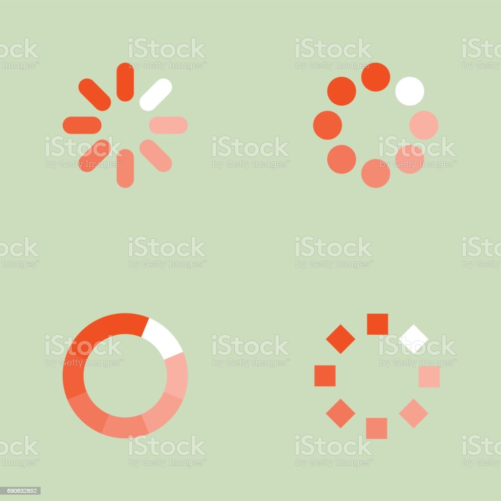 Loading icons set vector art illustration