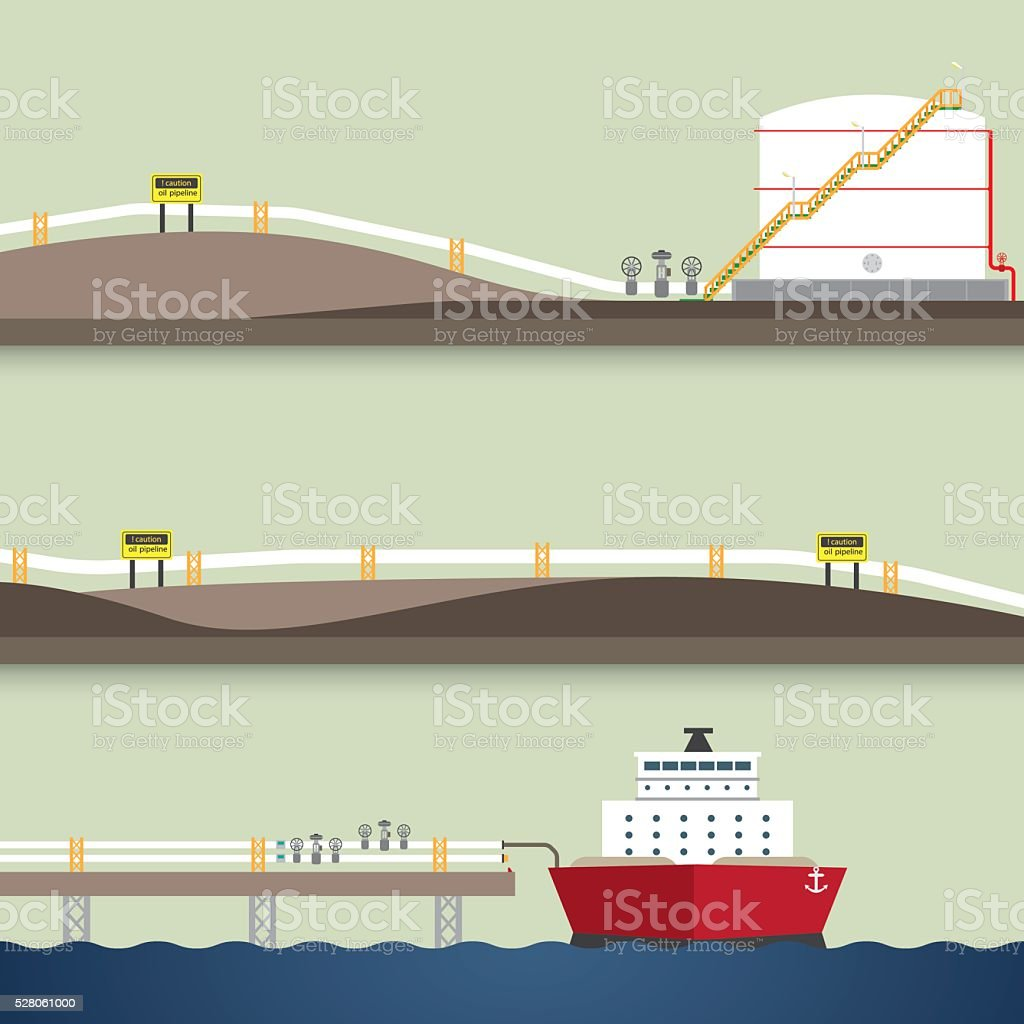 loading oil from ship vector art illustration