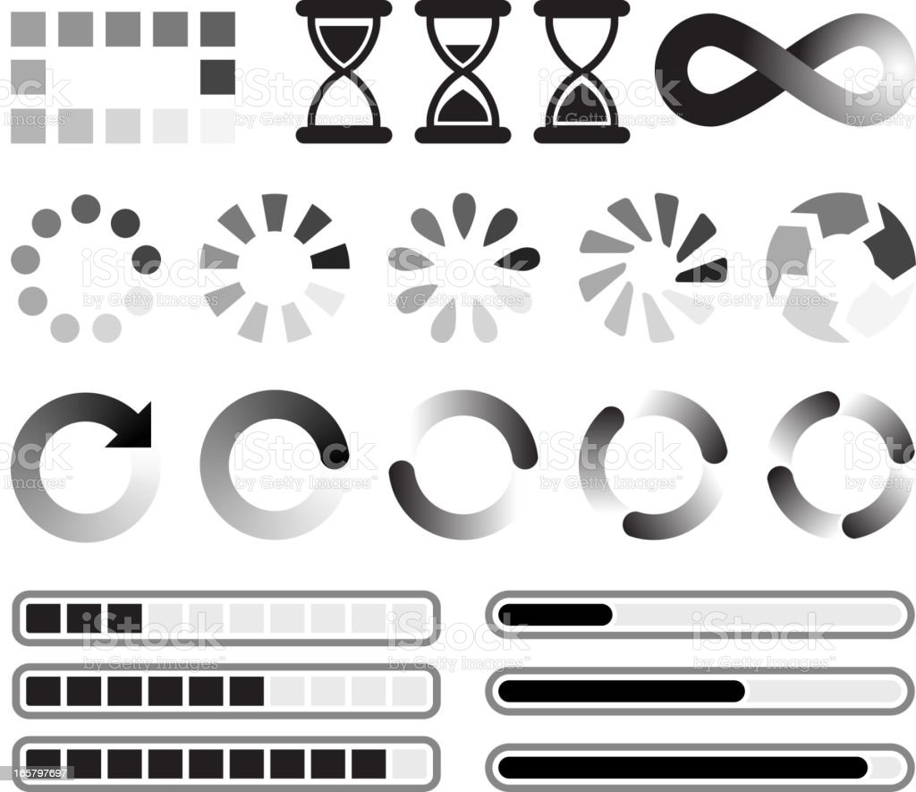 Loading preloader and downloading Vector Icons black & white set royalty-free stock vector art