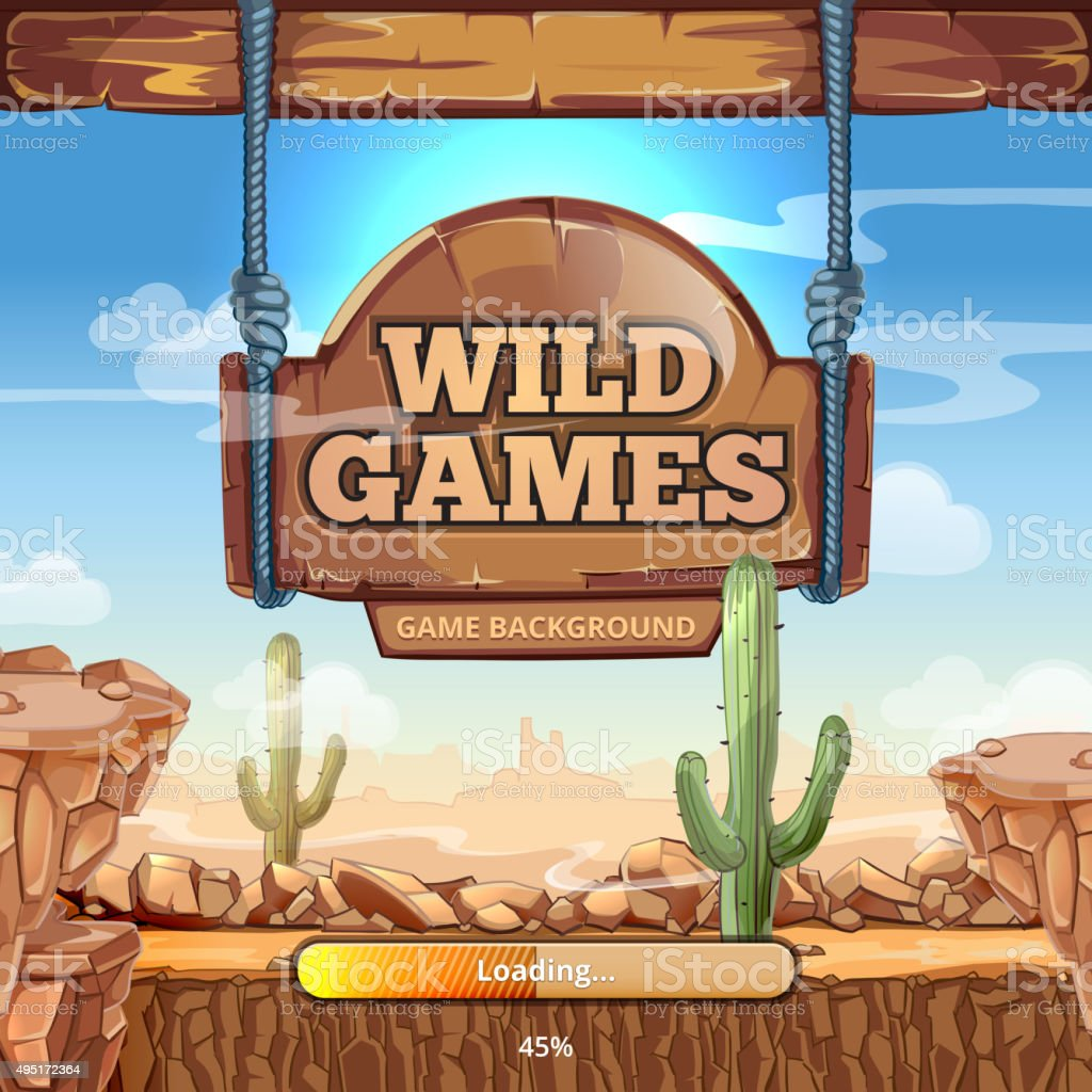 Loading screen with title for a Wild West game vector art illustration