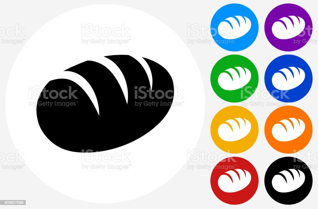 Loaf of Bread Icon on Flat Color Circle Buttons vector art illustration