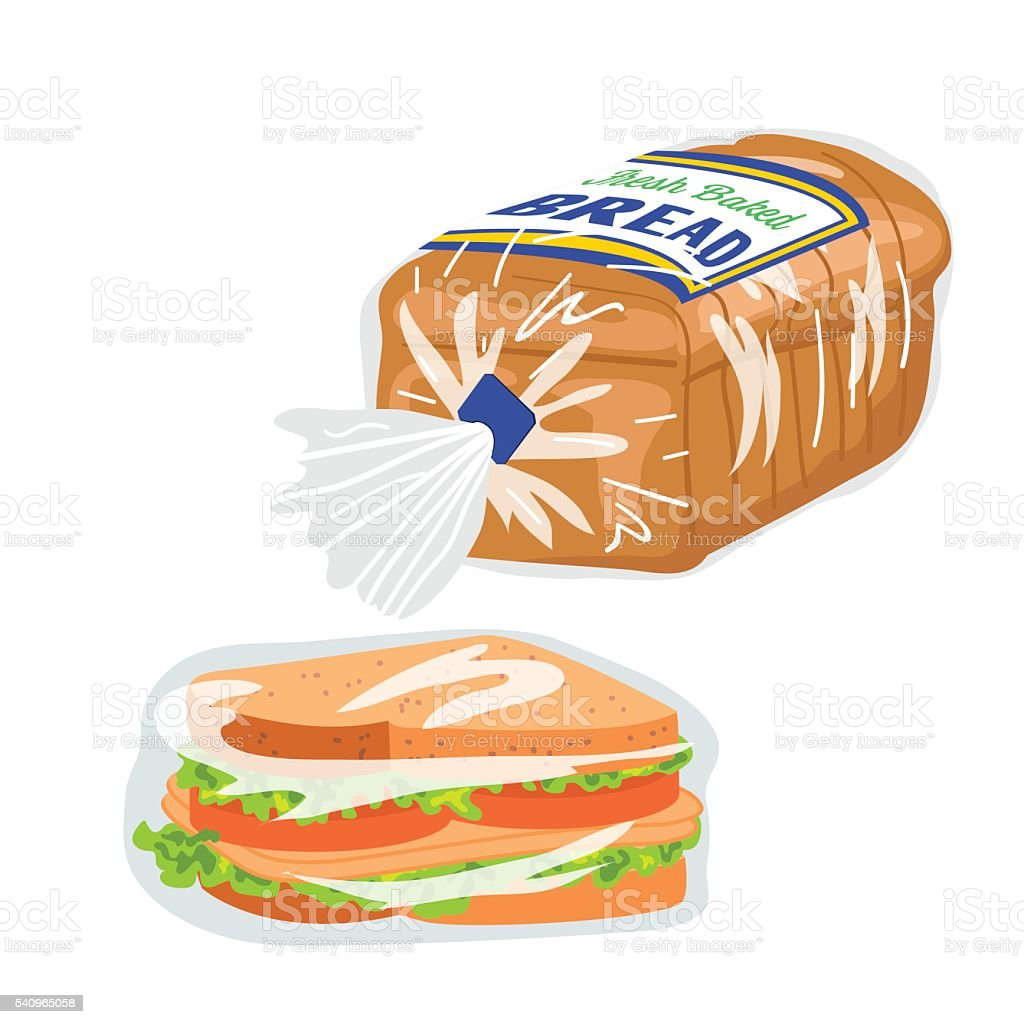 Loaf Of Sliced Bread In A Plastic Wrapper vector art illustration