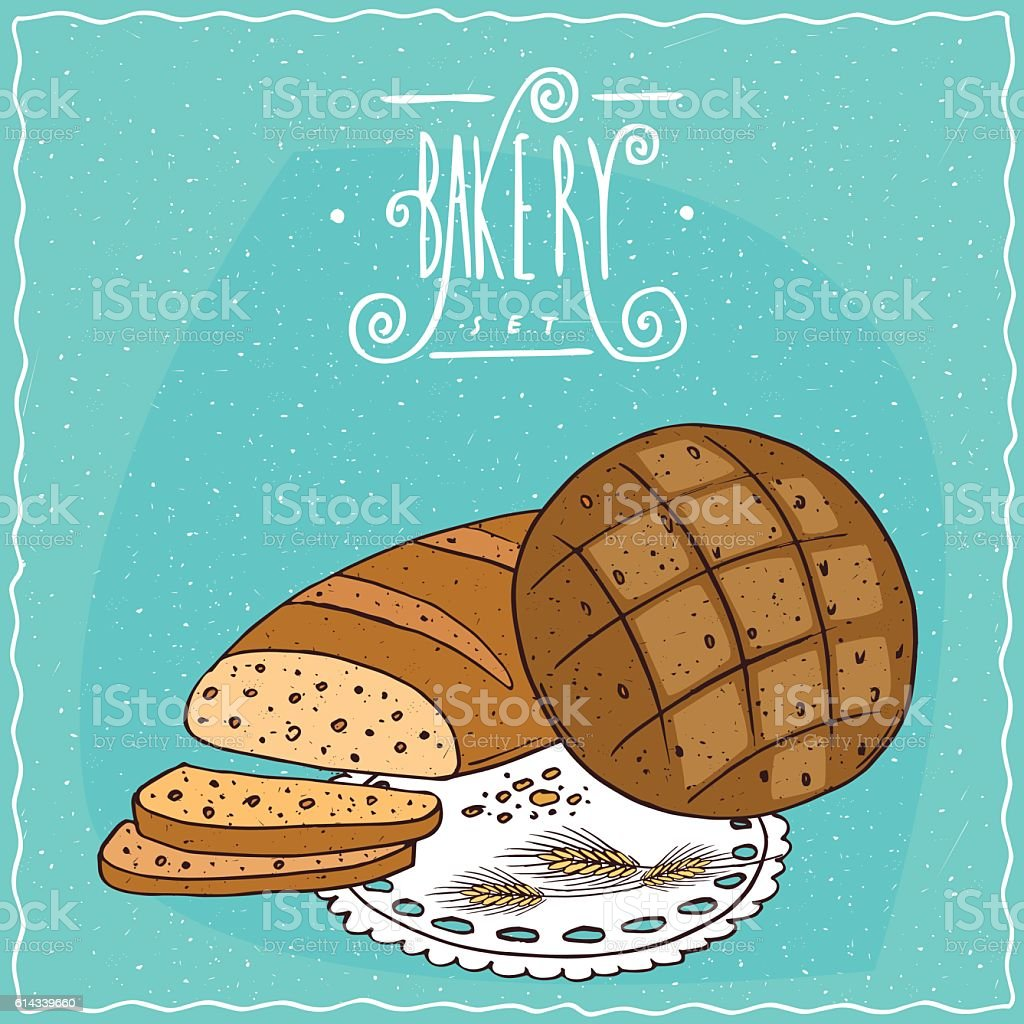 Loaf wheat bread and round rye bread vector art illustration