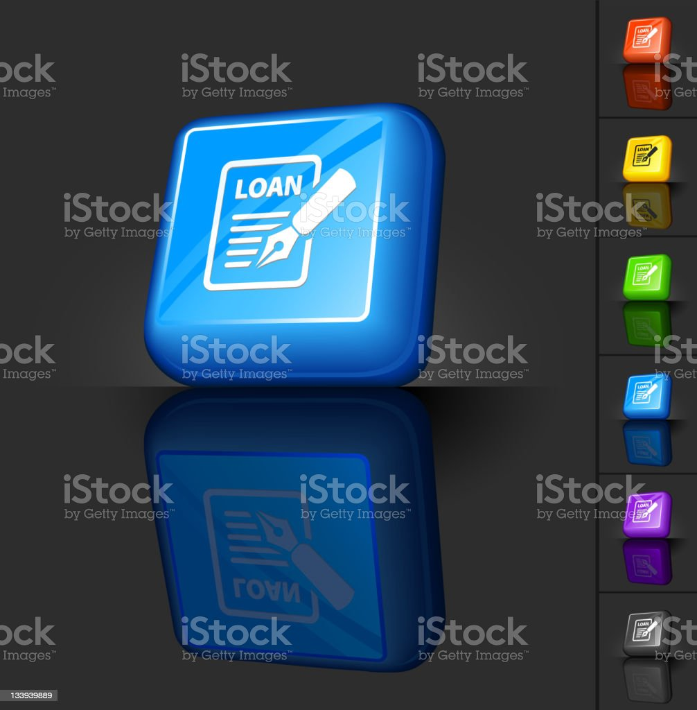 loan application 3D button design royalty-free stock vector art
