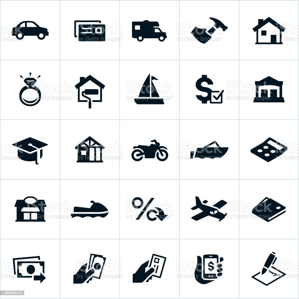Loan Types Icons vector art illustration