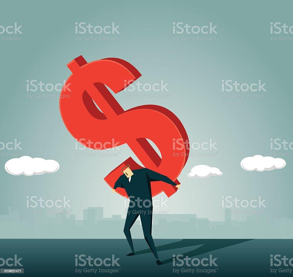 Loan,Physical Pressure,Dollar, Making Money, Despair vector art illustration