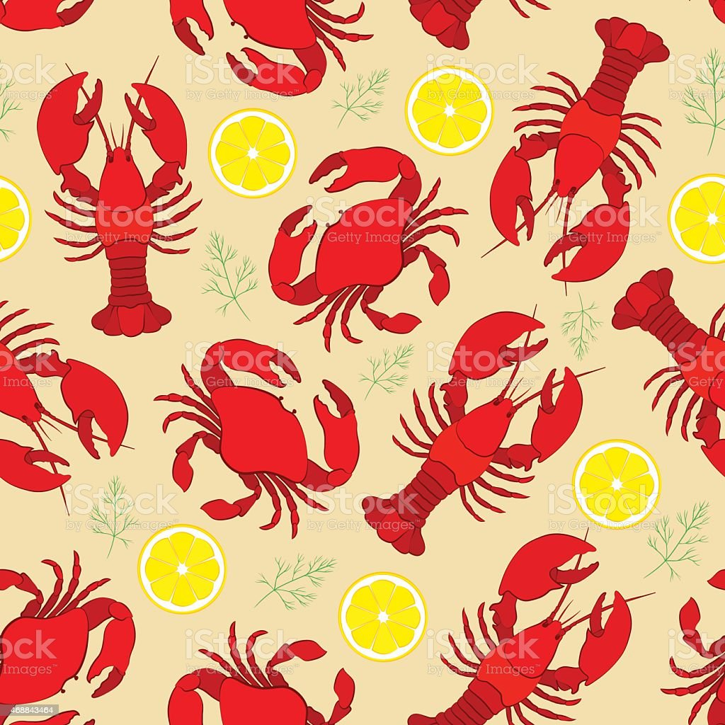 Lobster and crab with lemon and dill vector art illustration