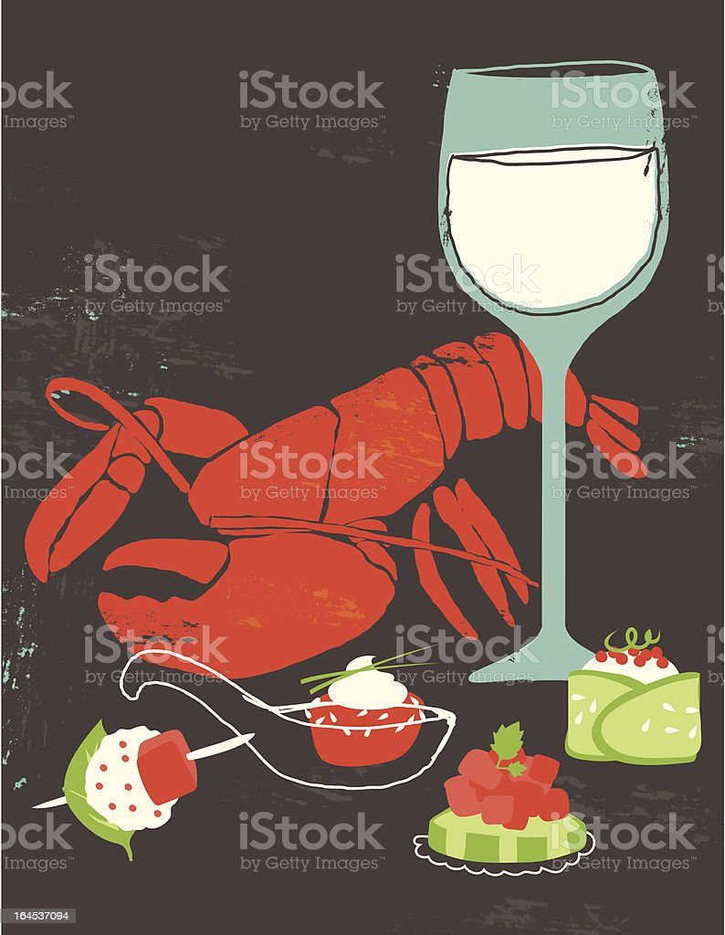 lobster and wine royalty-free stock vector art
