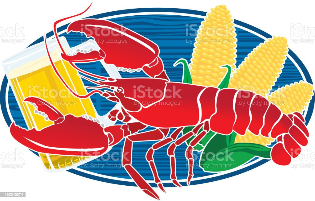 Lobster Beer and Corn sign royalty-free stock vector art