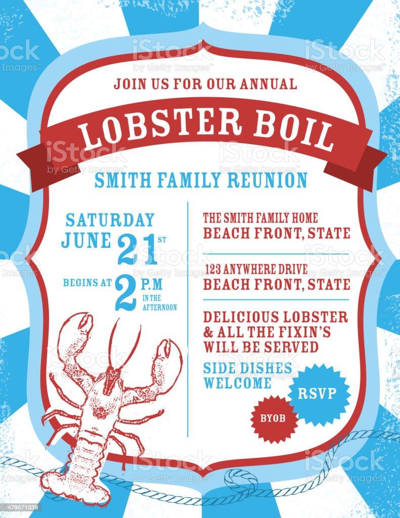 Lobster boil Indpendence Day invitation design template vector art illustration