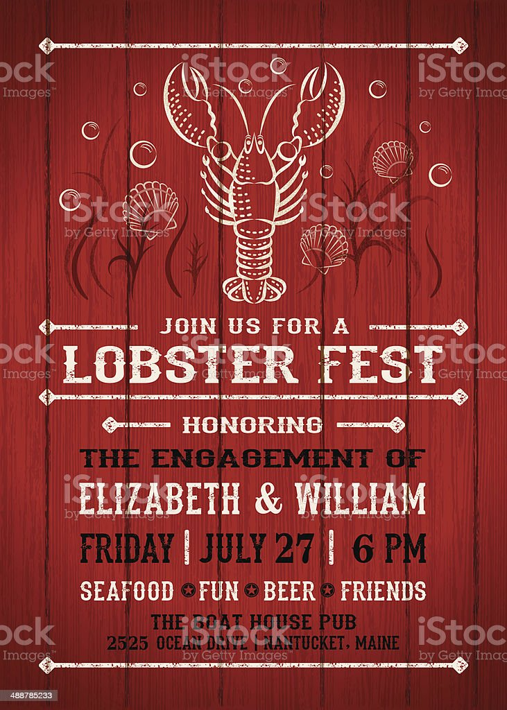 Lobster Fest Invitation vector art illustration
