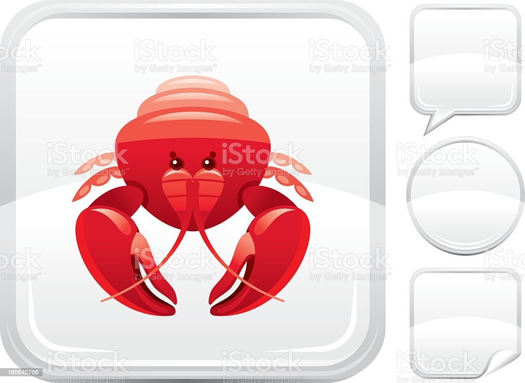 Lobster icon on silver button royalty-free stock vector art