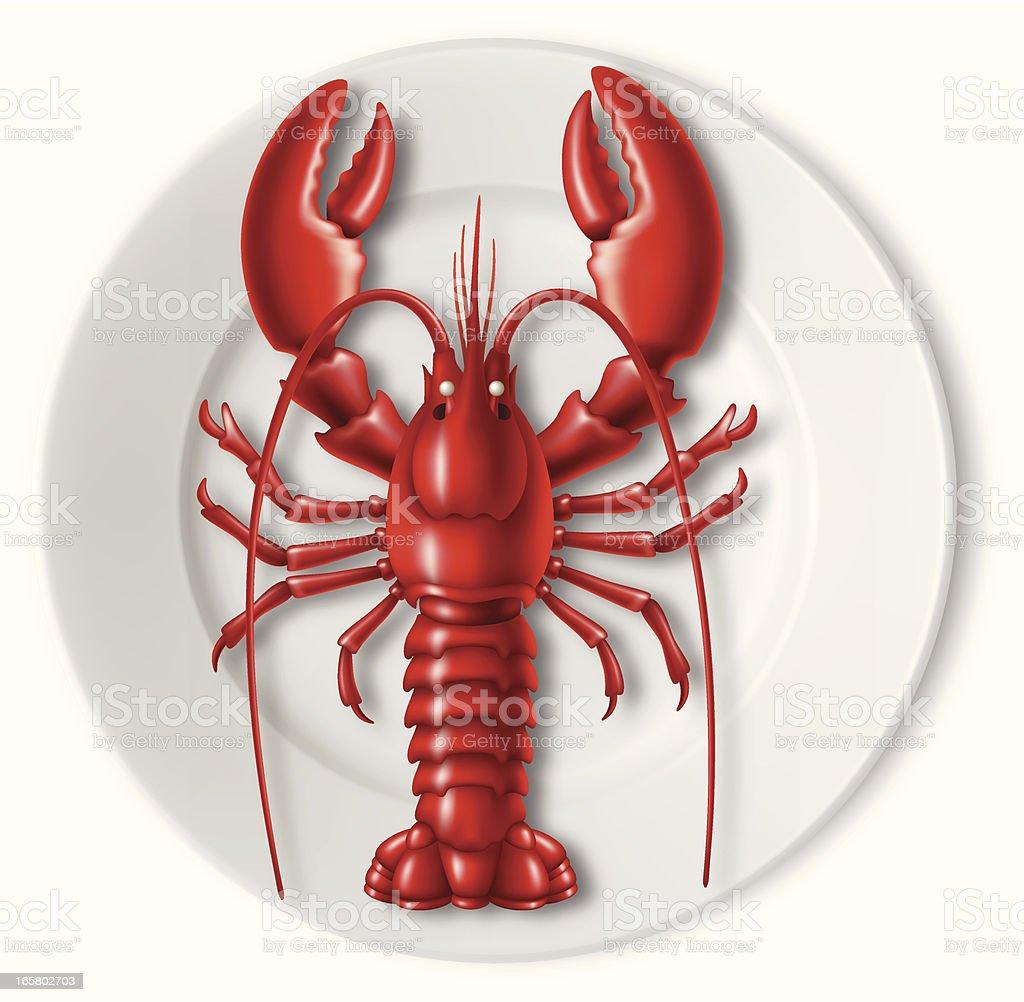 Lobster on plate vector art illustration