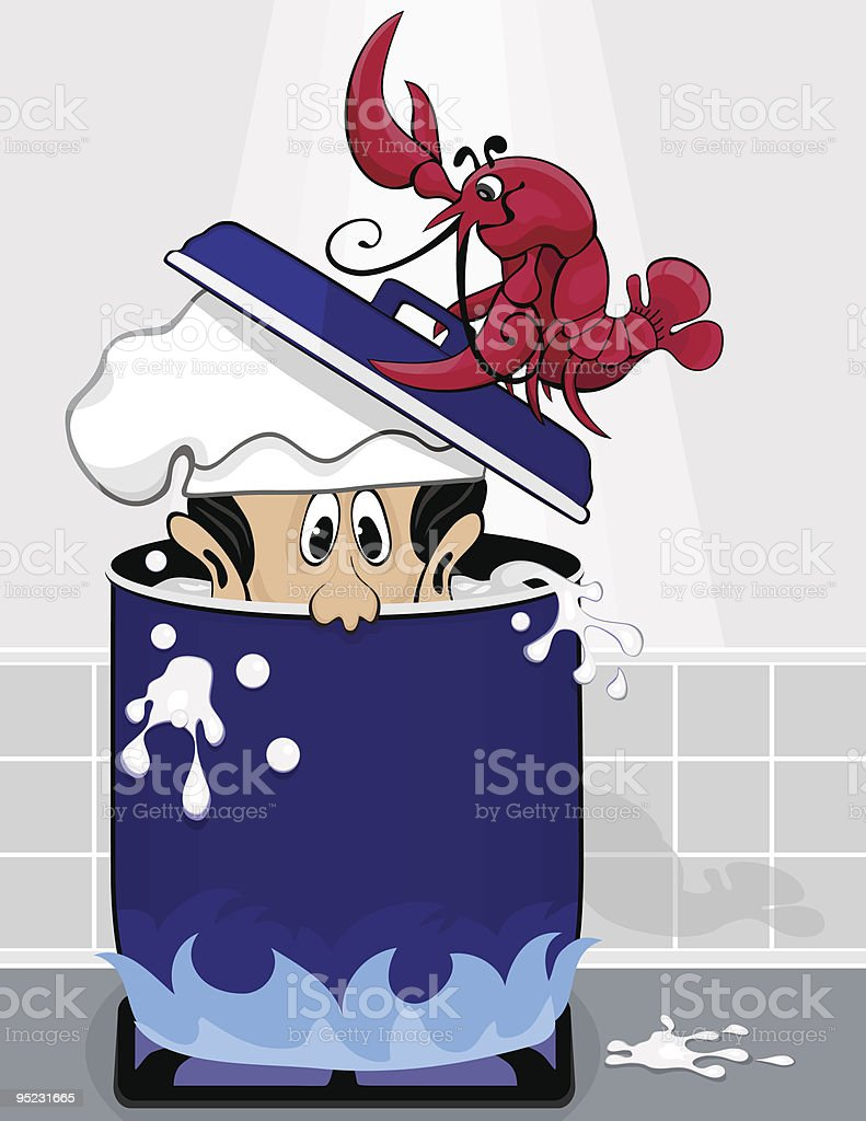 Lobster puts chief in boiling pot of water vector art illustration